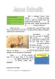 English Worksheets: James Naismith Reading Comprehension