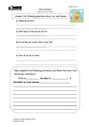 English Worksheet: describing the house