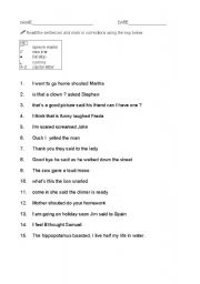 English Worksheet: Speech and quotation marks