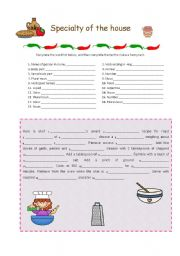 English Worksheet: Specialty of the house - Mad Libs