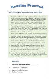 English Worksheets: Reading Comprehension Skill