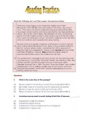 English Worksheets: Reading Comprehension Skill