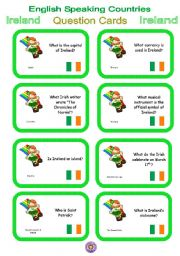 English Worksheet: English Speaking Countries - Question cards 3 - Ireland