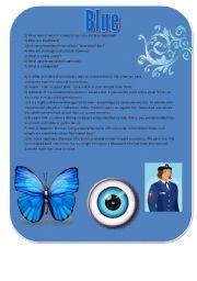 English Worksheets: Blue