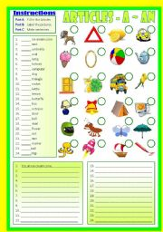 English Worksheet: Articles A-An (B/W & Keys)