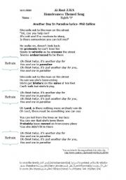 English Worksheets: lyrics of song another day in paradise