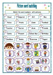 English Worksheets: Match  words &  pictures