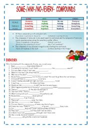 Intermediate ESL worksheets: SOME-, ANY-, NO-, EVERY- COMPOUNDS