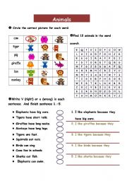 English Worksheets: animals_word search_likes and dislikes