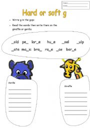 Printables Hard And Soft G Worksheets english worksheets hard or soft g worksheet g