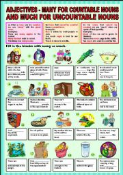 English Worksheet: Adjectives - many for countable nouns and much for uncountable nouns