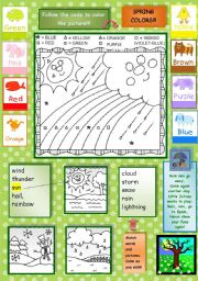 English Worksheets: Spring colors!