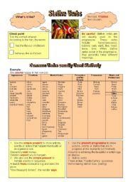 English Worksheet: Stative verbs (grammar guide)