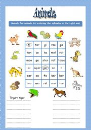 English Worksheets: Animal search