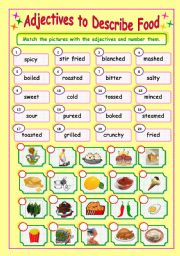 English Worksheet: Adjectives to Describe Food (3/3) - Matching