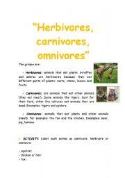English Worksheets: Animals: Herbibores, carnivores, omnivores