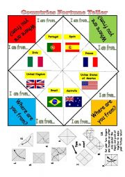 English Worksheet: Countries - Fortune Teller (with b&w version included)