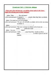 English Worksheet: first aid dialogue
