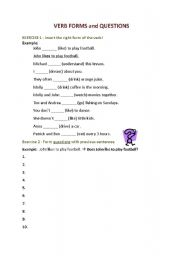 English Worksheets: Verb forms and questions