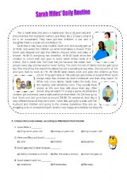 English Worksheets: Sarah Miles� Daily Routine