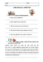English worksheet: special days : test step 4 - April Fools´ Day & Easter