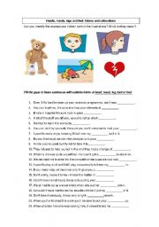 English Worksheets: Expressions with parts of the body