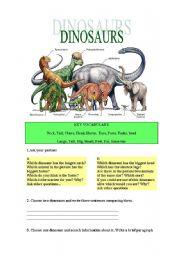English Worksheets: DINOSAURS