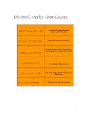English worksheet: PHRASALS DOMINOES - FAMILY