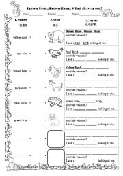 English Worksheet: Color worksseht brown bear