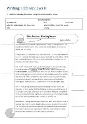 English Worksheet: Writing: Film Reviews II
