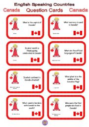 English Worksheet: English Speaking Countries - Question cards 4 - Canada