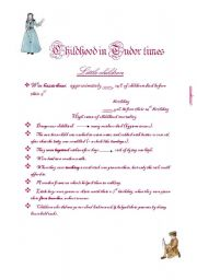 English Worksheets: Childhood in Tudor times--part1