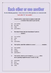 English Worksheet: each other or one another