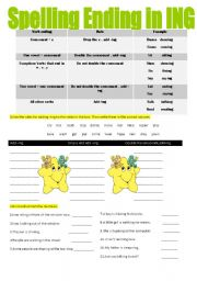 English Worksheets: spelling endin in ing
