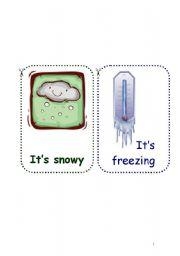 English Worksheet: weather flashcards set - 6 pages, 12 flashcards