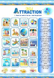 English Worksheet: Sea Attraction (3 pages)