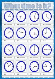 English Worksheet: telling the time****( fully editable)
