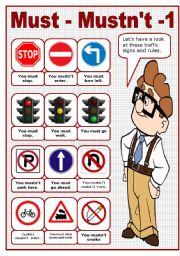 MUST - MUSTN´T - 1 - TRAFFIC RULES POSTER (editable)