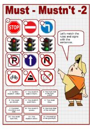 English Worksheet: MUST - MUSTN´T 2 - TRAFFIC RULES MATCHING ACTIVITY (editable)