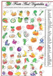 English Worksheet: 55 Cute Fruits and Vegetables