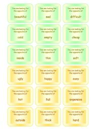 English Worksheet: FUNNY SPEAKING GAME ON OPPOSITES � 72 CARDS � GOOD FOR ADULTS, TOO!! (5 pages)