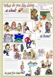 English Worksheet: WHAT DO YOU LIKE DOING...?