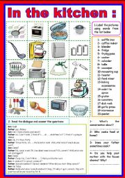 English Worksheet: in the kitchen