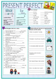 English Worksheet: PRESENT PERFECT with SINCE and FOR