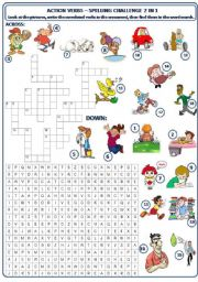 English Worksheet: ACTION VERBS - SPELLING CHALLENGE 2 IN 1