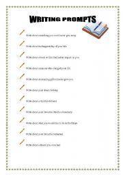 English worksheet: writing prompts