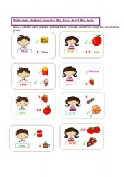 English Worksheets:  game: like, love ,don�t like, hate.