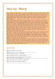 English Worksheets: Hairy Mary (a silly rhyme)