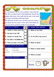 English Worksheets: Reading comprehension Test ( Theme: The four directions)
