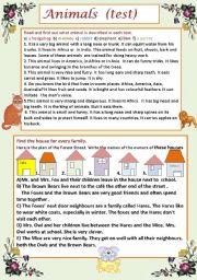 English Worksheet: Animals ( test)